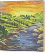 A Sunset In Wine Country Wood Print