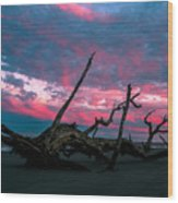 A Sunset On Jekyll Wood Print