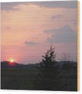 A Sunset  With Sun On The Horizon  Wood Print