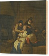 A Tavern Interior With Two Peasants Making Advances On A Maid With Figures Making Music Beyond Wood Print