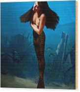 A Temple Mermaid Wood Print