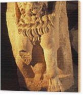 A Temple Winged Lion In The Petra Wood Print