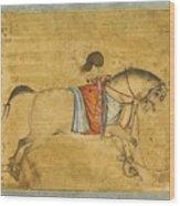 A Tethered Stallion Wood Print