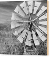 A Texas Windmill Wood Print