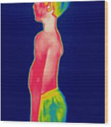 A Thermogram Of A Boy In Shorts Profile Wood Print
