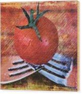 A Tomato Sketch Wood Print