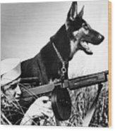 A Trained German Shepherd Sitting Watch Wood Print by Everett
