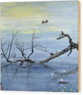 A Tranquil Lake Wood Print