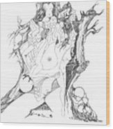 A Tree Human Forms And Some Rocks Wood Print