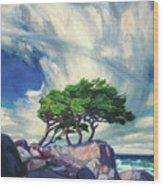 A Tree On The Seashore Reef Wood Print