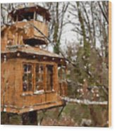 A Treehouse For All Seasons Wood Print