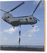 A Trio Of Marines Fast Rope Wood Print