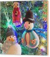 A Trio Of Snowmen Wood Print