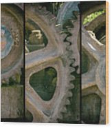 A Triptych Of Old Gears Wood Print