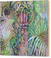 A Tropical Basket On A Post Wood Print