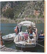 A Turkish Fishing Boat On The Dalyan River Wood Print