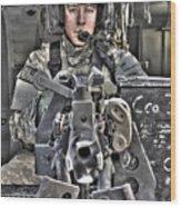 A Uh-60 Black Hawk Door Gunner Manning Wood Print by Terry Moore