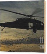A U.s. Army Uh-60 Black Hawk Leaves Wood Print