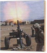 A U.s. Marine Corps Gunner Fires Wood Print