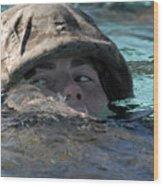 A U.s. Marine Swims Across A Training Wood Print