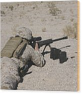 A U.s. Marine Zeros His M107 Sniper Wood Print by Stocktrek Images