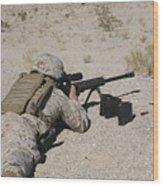 A U.s. Marine Zeros His M107 Sniper Wood Print by Stocktrek Images