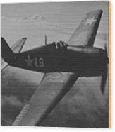 A Us Navy Hellcat Fighter Aircraft In Flight Wood Print