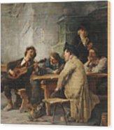 A Vagrant Ministrel In A Tavern Wood Print
