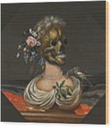 A Vanitas Bust Of A Lady With A Crown Of Flowers On A Ledge Wood Print