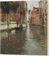 A Venetian Backwater  Wood Print by Fritz Thaulow