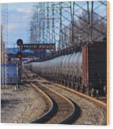 A Very Long Line Of Tanker Cars Wood Print
