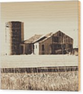 A Very Old Barn And Silo Wood Print