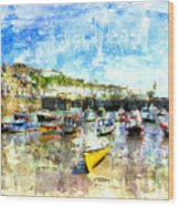 Porthleven - A View Across The Harbour Wood Print