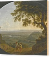 A View Across The Alban Hills With A Hilltop On The Right And The Sea In The Far Distance Wood Print