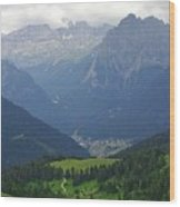 a view from 2200 meter altitude in the dolomite mountains of Italy Wood Print