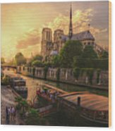 A View From Bridge Pont De L Archeveche, Archbishop Bridge, Infront Of Notre Dame De Paris Cathedr Wood Print