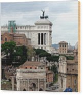 A View From Palatine Hill In Rome Italy Wood Print