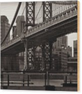 A View From The Bridge - Manhattan Bridge New York Wood Print