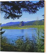 A View Of Beacon Rock Wood Print
