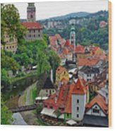 A View Of Cesky Krumlov And Castle In The Czech Republic Wood Print