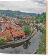 A View Of Cesky Krumlov And The Vltava River In The Czech Republic Wood Print