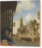 A View Of Delft With A Musical Instrument Seller's Stall Wood Print