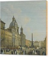 A View Of Piazza Navona With Elegantly Wood Print