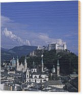 A View Of The City Of Salzburg From An Wood Print
