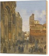 A View Of The Piazza Della Signoria Wood Print