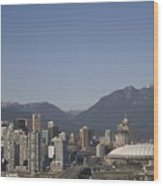 A View Of The Skyline Of Vancouver, Bc Wood Print