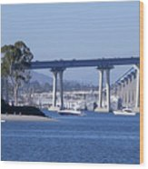 A View Of The South End Of The San Diego-coronado Bridge Wood Print