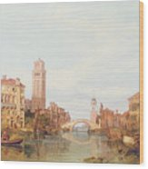 A View Of Verona Wood Print by George Clarkson Stanfield