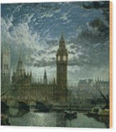 A View Of Westminster Abbey And The Houses Of Parliament Wood Print