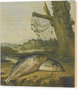 A View On The River Derwent At Belper Derbyshire With A Salmon And A Grayling On The Bank Wood Print